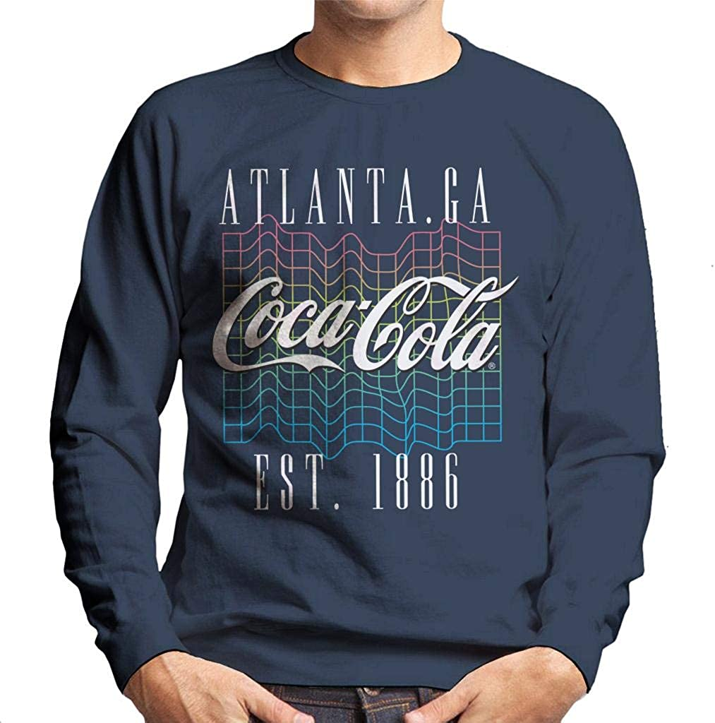 Coca-Cola Colourful Grid Logo Men's Sweatshirt Navy Blue
