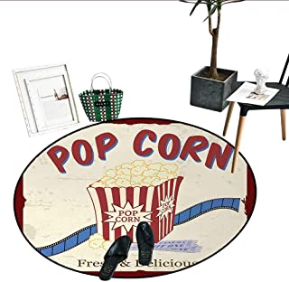 Movie Theater Round Small Door Mat Fresh Delicious Pop Corn Film Tickets Strip Advertising in 60s Theme Soft Area Rugs (24