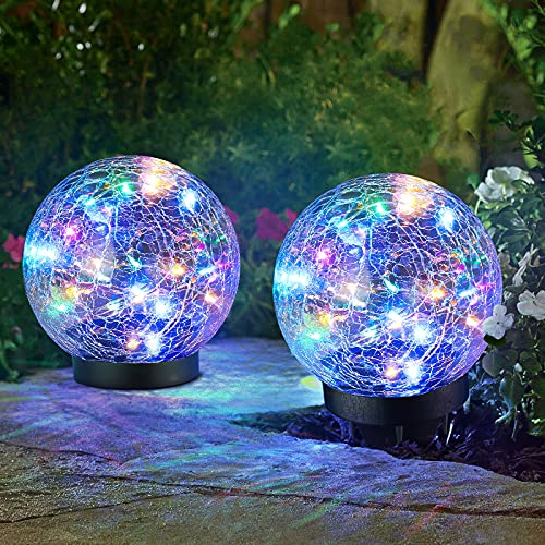 """2-Pack Garden Solar Lights Decorative, Colored Cracked Glass Solar Globe Lights Outdoor RGBW 30 LEDs, Waterproof Ball Lights for Yard Patio Lawn Pathway Walkway Outside Decor, 4.72"""", Multicolor"""