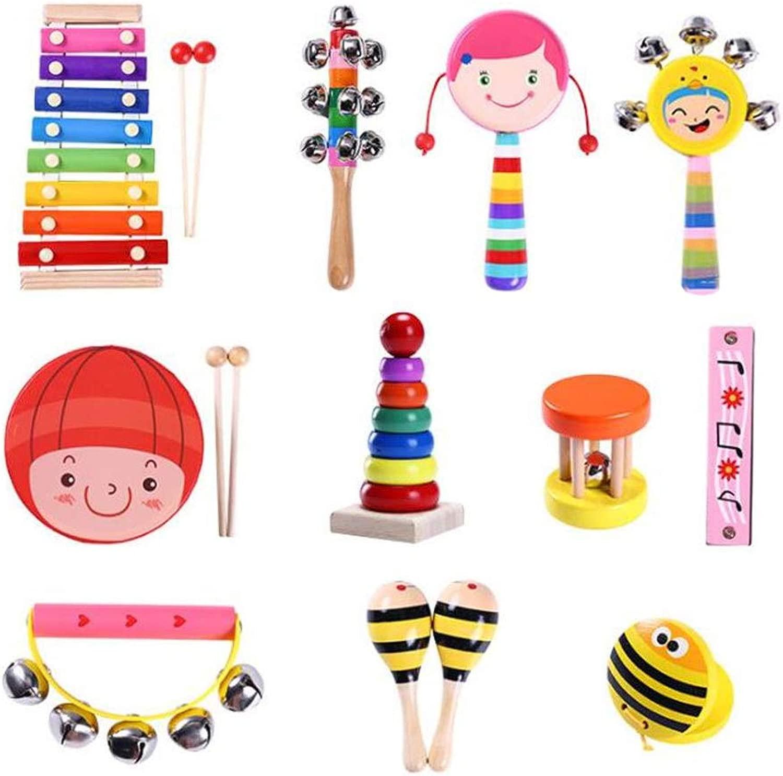JFMBJS Strumenti Musicali per Bambini Set, 12 PCS Strumenti A Percussione Giocattoli per Bambini Giocattoli Musicali Set Set di Musica Ritmica Regalo di Compleanno
