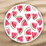 ARIGHTEX Thick 60 inch Round Beach Towel Blanket Red Watermelon Summer Fruit Pattern Large Microfiber Terry Beach Roundie Tablecloth Gifts for Teen Girls