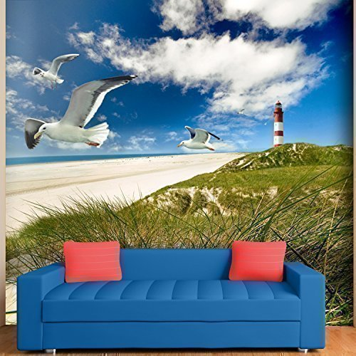 Walplus(TM) grote muursticker 'Kust, vuurtoren, zee blik' fotobehang-decoratie