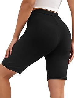 SheIn Women's High Waist Skinny Sports Workout Solid Rib Knit Biker Shorts