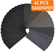Sandpapers 120 to 3000 Assortments, Topsma 42 PCS Sand Paper Sheets for Wood Furniture Finishing, Metal Sanding and Automotive Polishing, 9 x 3.6 Inches Grit Wet Dry Sand Paper Sheets