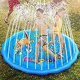 Ucradle Splash Pad - 170CM Sprinkler Play Matte, Splash Wasserspielmatte Wassermatte mit Buchstaben und Tieren Desigh, Outdoor Sommer Garten Pool wasserspielzeug Garten für Kinder Familie Haustier