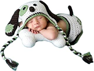 Baby Photography Props Boy Girl Photo Shoot Outfits Newborn Crochet Costume Infant Knitted Clothes Puppy Hat Shorts