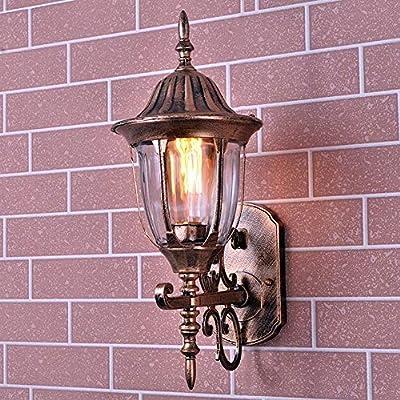 WPOLED Continental Living Room Glass Lantern Outdoor Waterproof Wall Light Antique Aluminium Metal Garden Villa Rainproof Wall Lamp External Patio Balcony E27 Wall Sconce