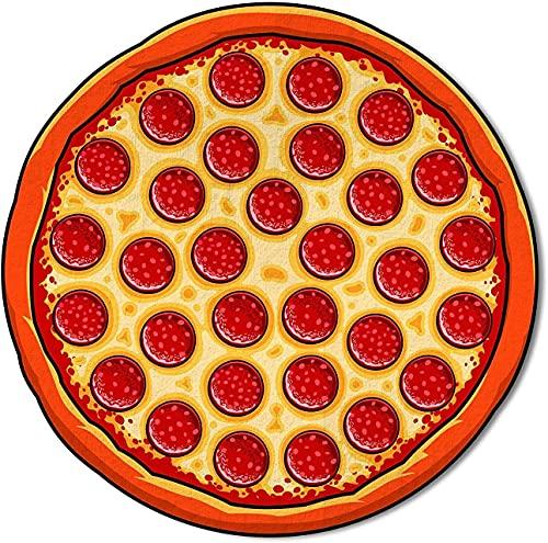 Ducomi Ibiza – Toalla antiarena redonda para mujer y hombre – Ideal para playa, pícnic, casa, piscina o disfraz, mantel con diseños divertidos de colores – Diámetro 150 cm (Pizza)