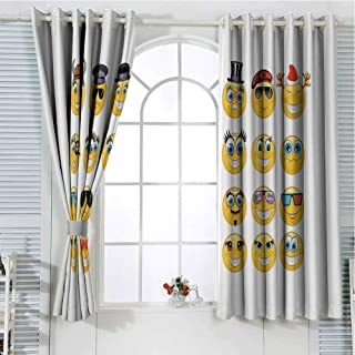 Grommet Window Curtain Curtains for Living Room,Cartoon Style Expressions with Many Themes Viking Police Christmas Cinema Pirate,Multicolor Curtain Panels 72 x 72 inch