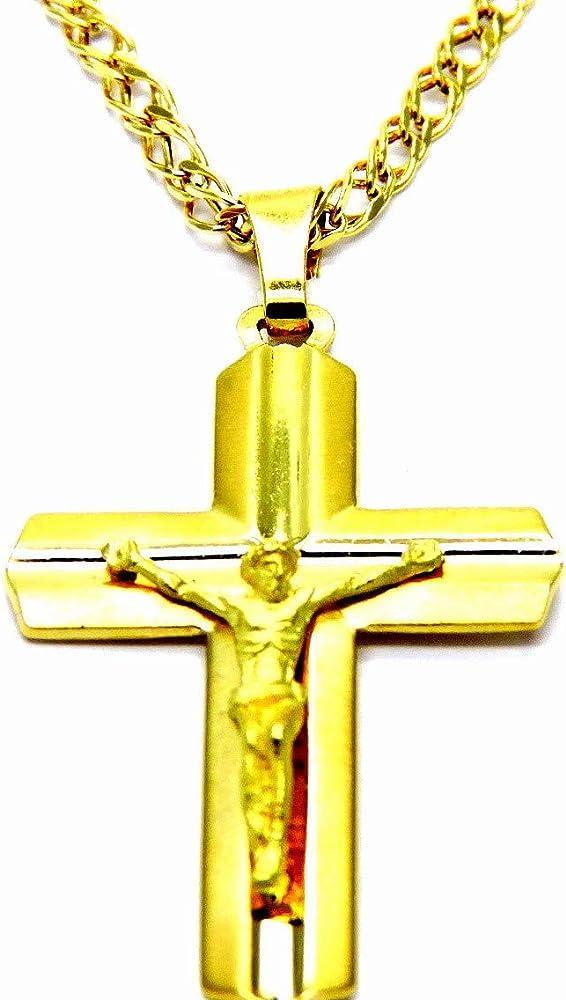 Pegaso gioielli collana da uomo in oro giallo 18kt (750),con pendente croce gesù cristo satinata CL755Z