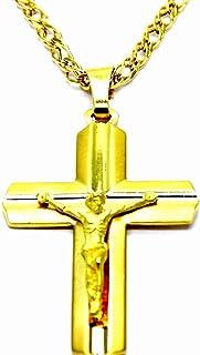 Croix en Or 585 Pendentif Polissage Diamanté Et Lisse Jaune pour Collier 14 KT