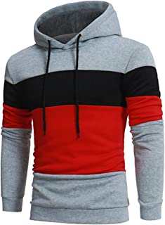 Gergeos Men's Hooded Pullover Fashion Contrast Color Male Long Sleeve Outwear T-Shirt Sweatshirt