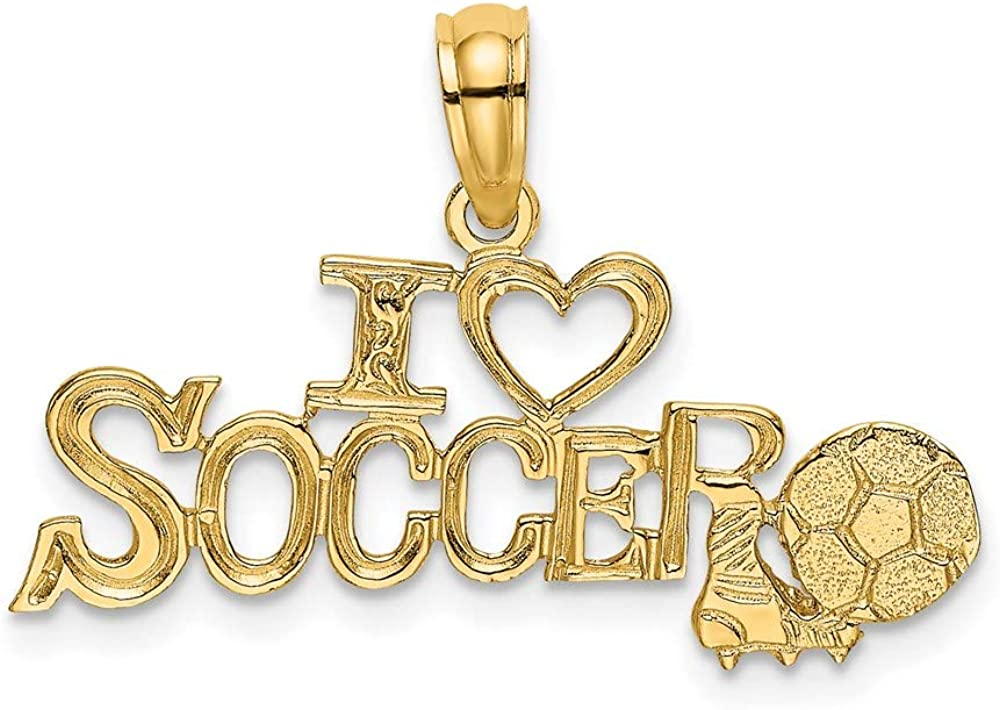 14k Yellow Gold I Heart Soccer Ball Pendant Charm Necklace Talking Sport Fine Jewelry For Women Gifts For Her