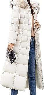 Women Faux Fur Hooded Puffer Long Sleeve Long Down Jacket Warm Coats Overcoats Tops