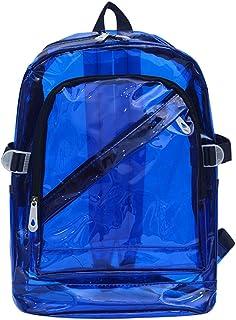 Mochila Impermeable Claro Transparente De Plástico para La Escuela De Bolsas De PVC Adolescente Hombros Bolso del Espacio Mochila para Portátil (Azul)