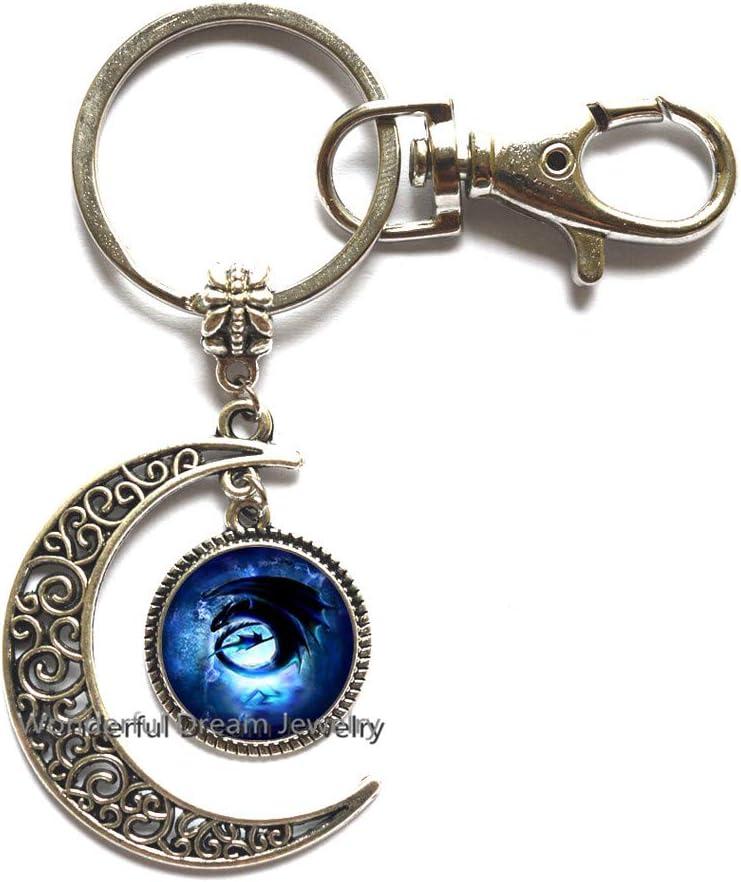 Gothic Dragon Keychain Fantasy Keychain Unique Gift Idea Dragon Key Ring Open Winged Dragon Key Chain Silver Dragon Keychain