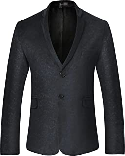 Sportides Men's Casual Slim Fit Velvet Printed Two Button Blazer Men Jacket Suits JZA130 Black M