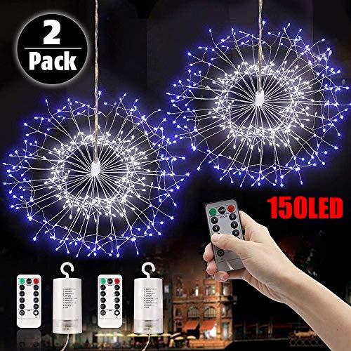 Fuoco D'Artificio Luci Illuminazione Luci Stringa Luci Fatate Natalizie 150 LED Fuochi D'Artificio Luci Lampada Luci Per Feste, Matrimonio, Giardino Decorazione (2Pcs Blu Bianco)