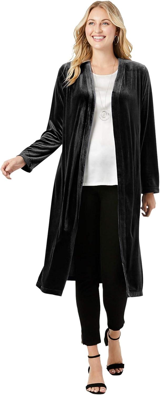 Jessica London Women's Plus Size Velour Duster Jacket