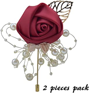 Florashop 2 pcs Package Satin Rose Gold Colored Leaf Men's Boutonniere Groom Boutonniere Bridegroom Boutonniere for Wedding Prom Party (Wine Red)