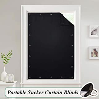 Temporary Blackout Blinds Curtain for Window - Travel Portable Adjustable Suckers Shade Drapes Thermal Insulated Noise Reducing Panels for Storage Room/Apartment, Black, 51 by 78 Inch, 1 Pc