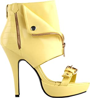 Punk Green Gold High Heels Stilettos Pumps with Ankle Strap Sandal,LF30104