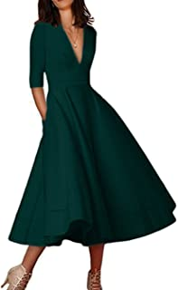 Womens Elegant Deep V Neck 3/4 Sleeve High Waist Vintage Long Maxi Dress