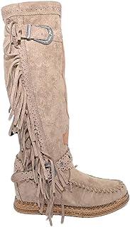 Ibiza Indianini Dameslaarzen, taupe, suède met franjes, wighak binnen 5 cm, riem gesp knielange mode