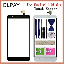 """JannahMehr-Mobile Phone Touch Panel - Mobile Phone Touch Panel Front Glass For Oukitel U16 Max 6.0"""" inch Touch Screen Digitizer Panel Glass Sensor Repair Parts (White With Tools)"""