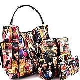 Michelle Obama Magazine Cover Print Multi Pocket 3 in 1 Single Strap Hobo Purse Handbag Crossbody...