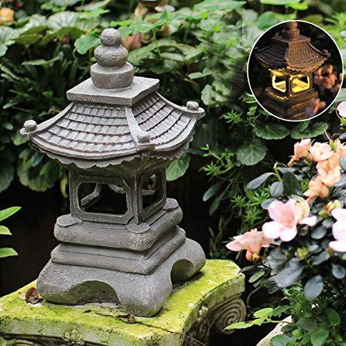 Sculptures for Home, Solar Powered Pagoda Lantern StatuesJapanese Style Pagoda Light Garden OrnamentsChinese Zen Asian Decor Lamp for Farmhouse Balcony Patio Yard Lawn205