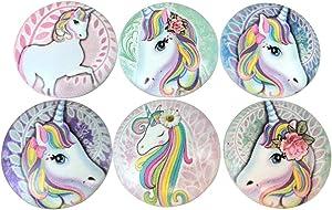 Set of 6 Unicorn Print Wood Cabinet Knobs