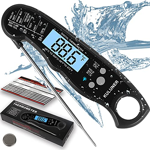 """KULUNER TP-01 Waterproof Digital Instant Read Meat Thermometer with 4.6"""" Folding Probe Backlight &..."""