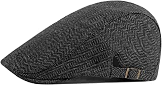 Qunson Men's Herringbone Tweed Flat Ivy Newsboy Hat Gatsby Cabbie Cap