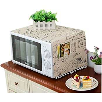 Amazon Com Mvchifay Microwave Oven Cover Dustproof Cotton Machine Protector Decorative Kitchen Appliance Cover With Side Storage Pockets 11 8x35 4inches Multiple Letters Kitchen Dining