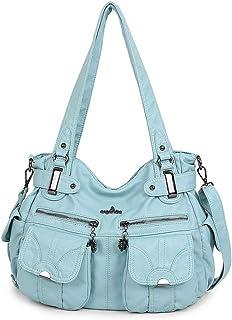 GLJJQMY Women's Bag Korean Version of The Trend of Multi-Function Wash Women's Shoulder Bag Fashion Lady Shoulder Bag, 33x10x42cm Hand Bag (Color : Blue)