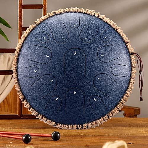 Qianyuyu Zungentrommel Stahl mit 15 Tönen, 35 cm, Gestimmtes Perkussionsinstrument, Handpan-Schlagzeug-Sets,004