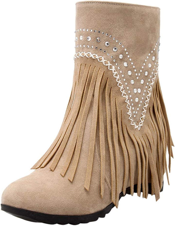 RedBrowm-women Warm Solid Tassel Crystal Increase Retro Ankle Boots Round Toe shoes Khaki