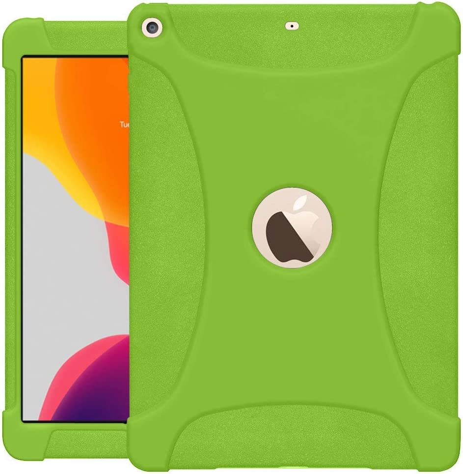 AMZER Rugged Silicone Skin Jelly Slim Protective Heavy Duty Shockproof Anti Slip Kids Friendly Case for iPad 10.2, iPad 8th Generation 10.2 inch - Green