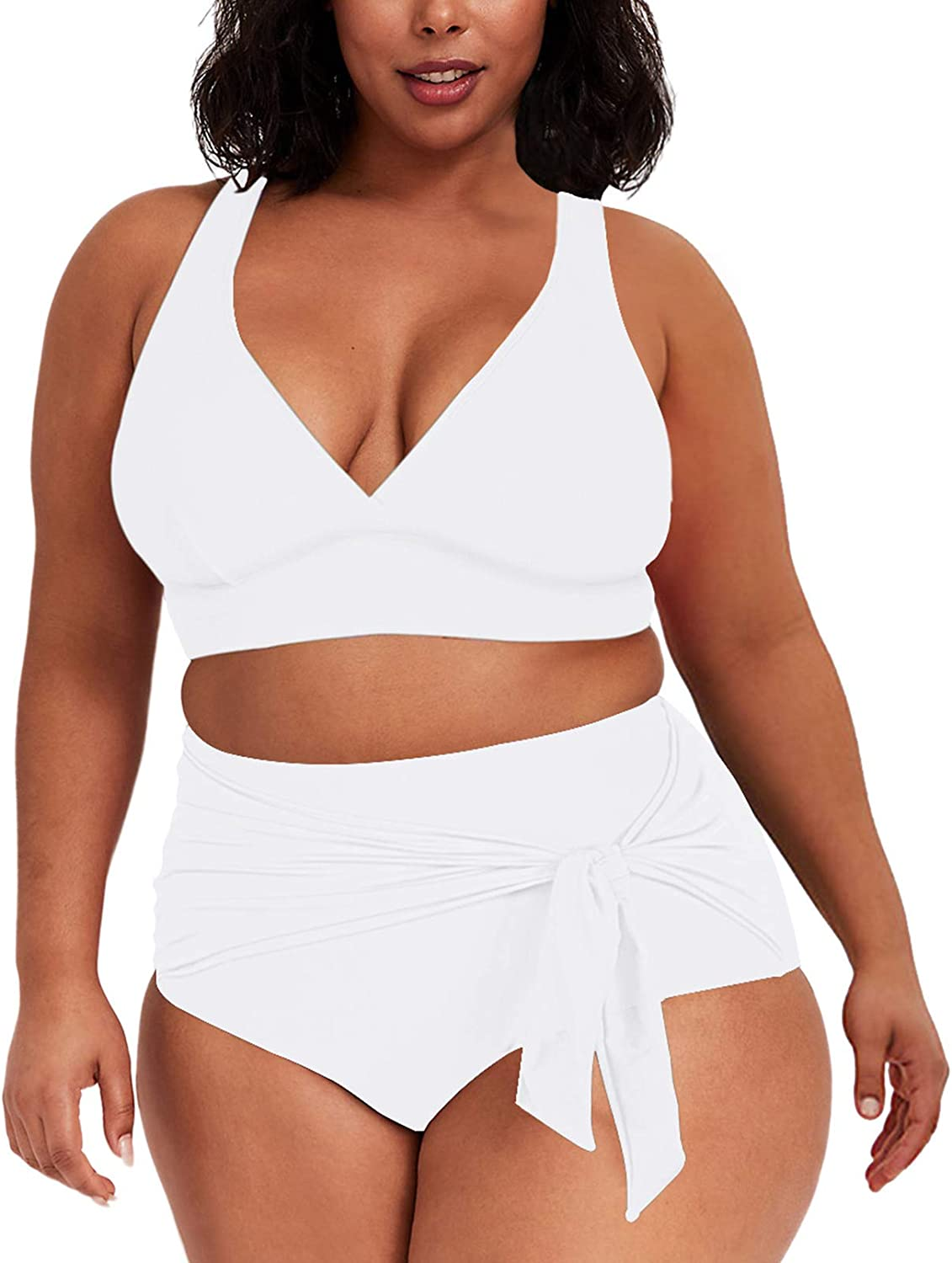 TOLENY Women's Plus Size 2 Piece Swimsuit V Neck High Waist Tummy Control Bathing Suits Knotted Swimwear