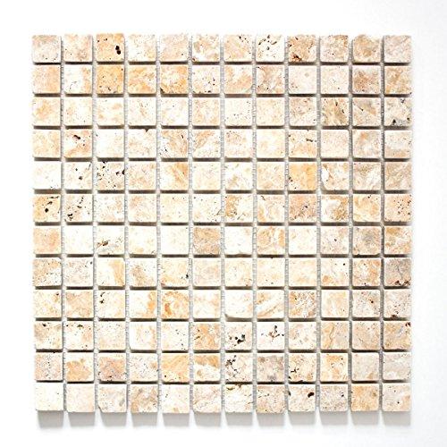 Mosaik Fliese Travertin Naturstein gelb Gold Antique Travertin für BODEN WAND BAD WC DUSCHE KÜCHE FLIESENSPIEGEL THEKENVERKLEIDUNG BADEWANNENVERKLEIDUNG Mosaikmatte Mosaikplatte