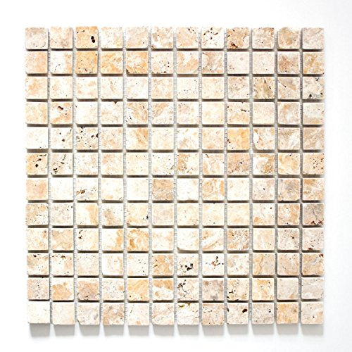Mosaik Fliese Travertin Naturstein gelb Gold Antique Travertin für BODEN WAND BAD WC DUSCHE KÜCHE FLIESENSPIEGEL THEKENVERKLEIDUNG BADEWANNENVERKLEIDUNG Mosaikmatte Mosaikplatte