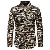 Camisa De Vestir Delgada De Manga Larga con Estampado De Bronceado En Oro Negro De Lujo De Moda para Hombres, Club Nocturno De Bodas, Fiesta De Hip-Hop, Cantante, Etapa, Camisa