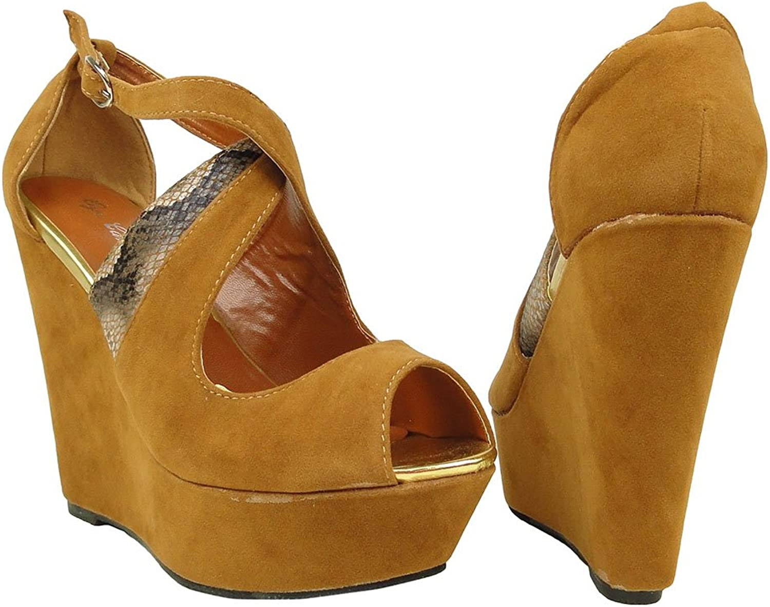 DS By KSC Womens Peep Toe Platform Strappy Snake Wedges Sandals Faux Suede Camel