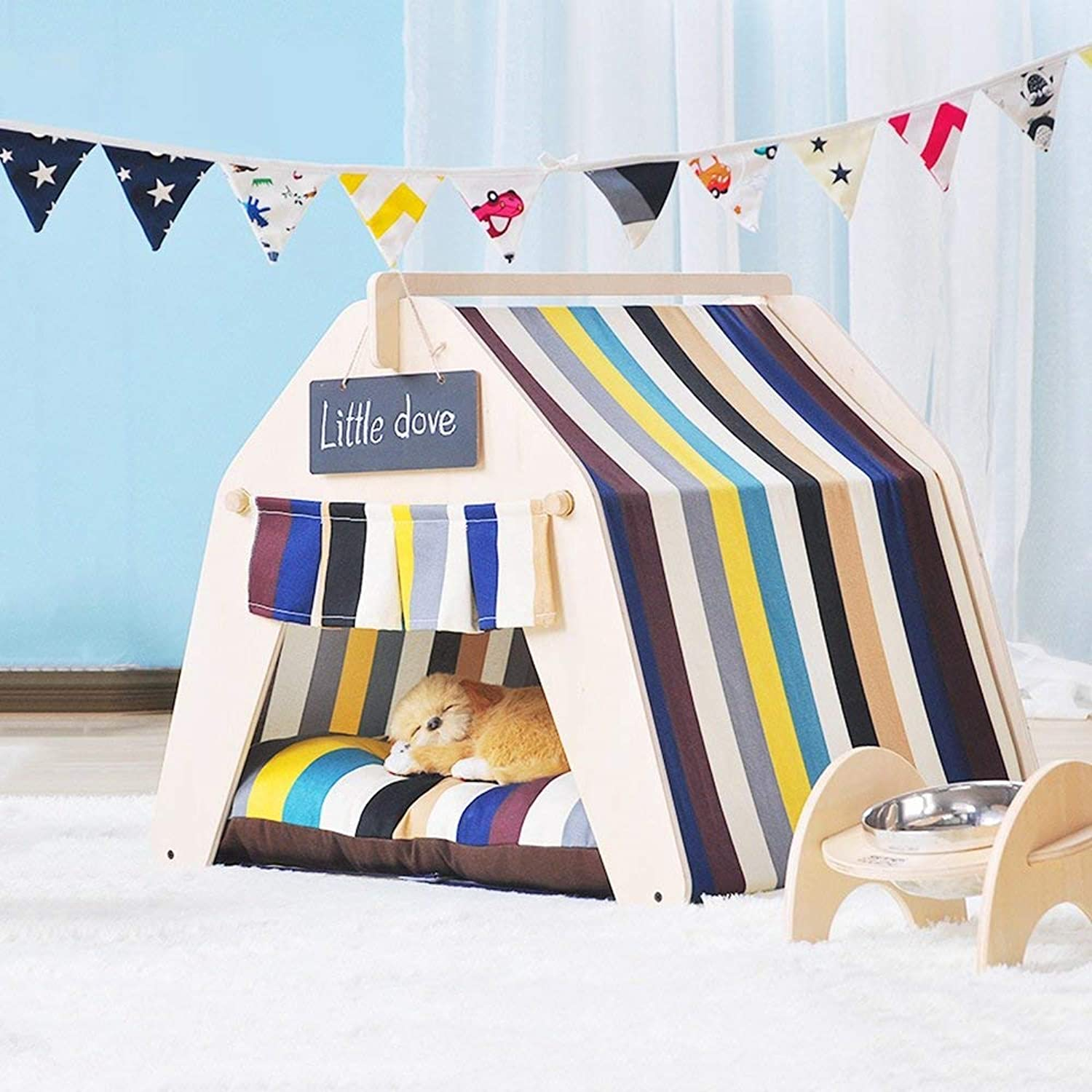 HeiPlaine Pet Sofa Pet Tent Cute Beautiful Pet Bed Small Dog Pet House Removable And Washable Pet Supplies Autumn And Winter Thick Mat (color   02, Size   Large)