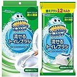 【まとめ買い】 スクラビングバブル トイレ洗剤 流せるトイレブラシ 本体ハンドル1本+付替用16個(フローラルソープの香り4個 + フローラルソープの香り12個) セット