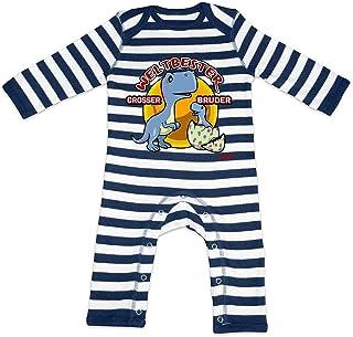 HARIZ HARIZ Baby Strampler Streifen Weltbester Grosser Bruder Dino Baby Geburtstag Bruder Baby Plus Geschenkkarte Navy Blau/Washed Weiß 12-18 Monate