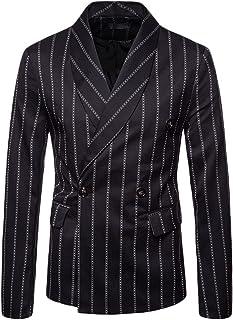 GUOCU Mens Pinstripe Single Breasted Blazer Casual Blazer Slim Fit Formal Business Suit Jackets Classic Chic Blazers Coat