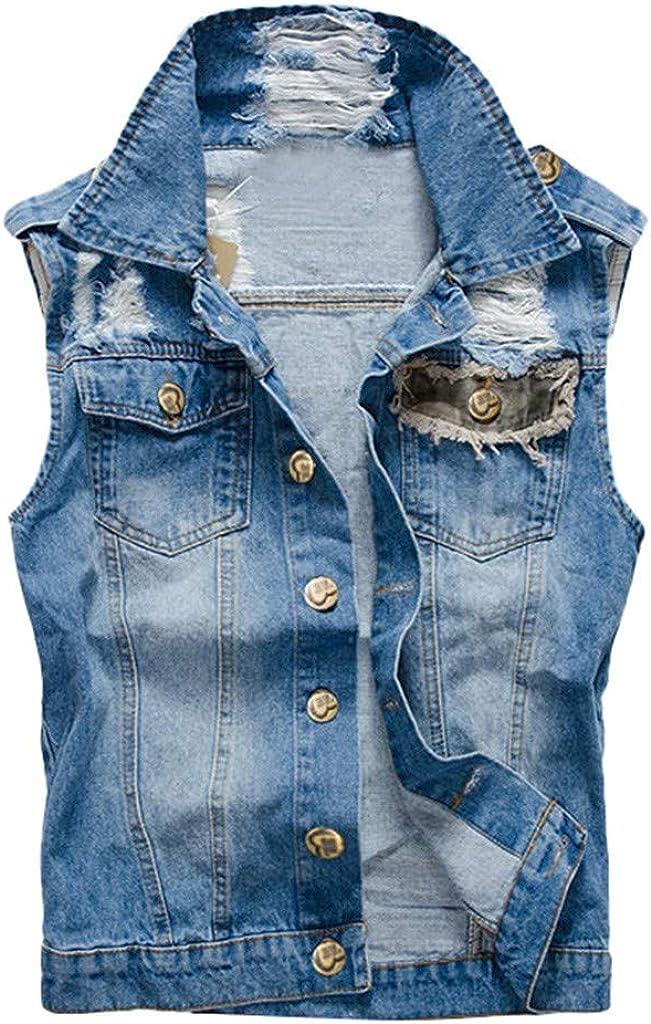 MODOQO Men's Denim Jacket Casual Sleeveless Slim Fit Lightweight Outwear Jeans Coat
