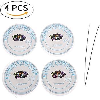 CCINEE ブレスレット用 弾力紐 シリコンゴム 水晶の線 0.4mm/0.6mm/0.8mm/1mmサイズ 通しワイヤー 4本 通し針1本 5点セット